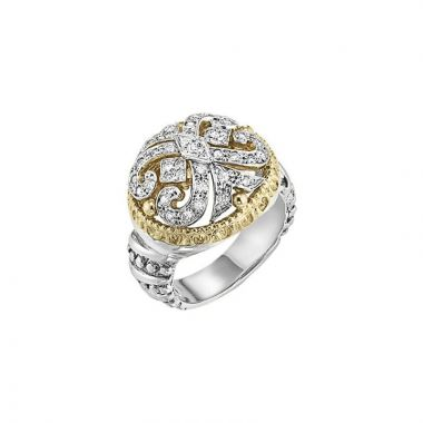 Alwand Vahan 14k Yellow Gold & Sterling Silver Scroll Design Ring