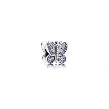 Sterling Silver Sparkling Butterfly, Purple Cubic Zirconia Charm