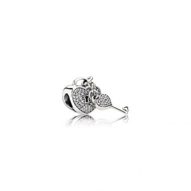 Sterling Silver  Locks of Love, Clear Cubic Zirconia Charm