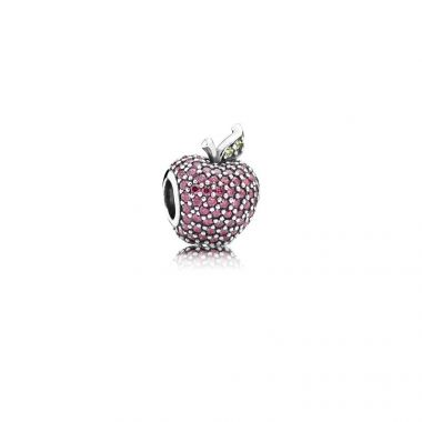 Sterling Silver Red Pave' Apple, Fancy Red Cubic Zirconia and Green Crystal Charm