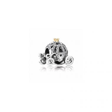 Sterling Silver Disney, Cinderella's Pumpkin Coach with 14K Gold and Clear Cubic Zirconia Charm