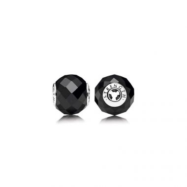 Sterling Silver Essence Collection,  Strength, Black Spinel Charm