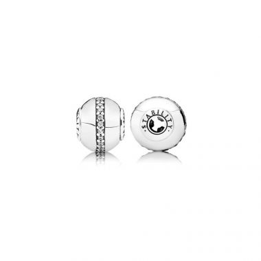 Sterling Silver Essence Collection,  Stability, Clear Cubic Zirconia Charm