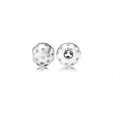 Sterling Silver Essence Collection,  Joy, Clear Cubic Zirconia Charm