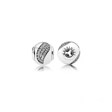 Sterling Silver Essence Collection,  Happiness, Clear Cubic Zirconia Charm