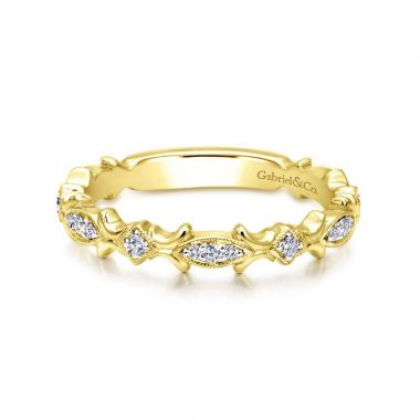 Gabriel & Co. 14k Yelow Gold Stackable Diamond Ring
